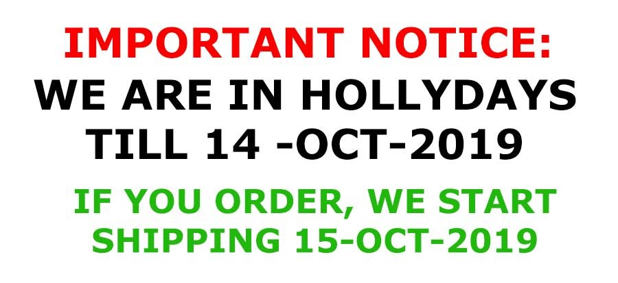 We are on hollydays, orders will ship in october-15-2019